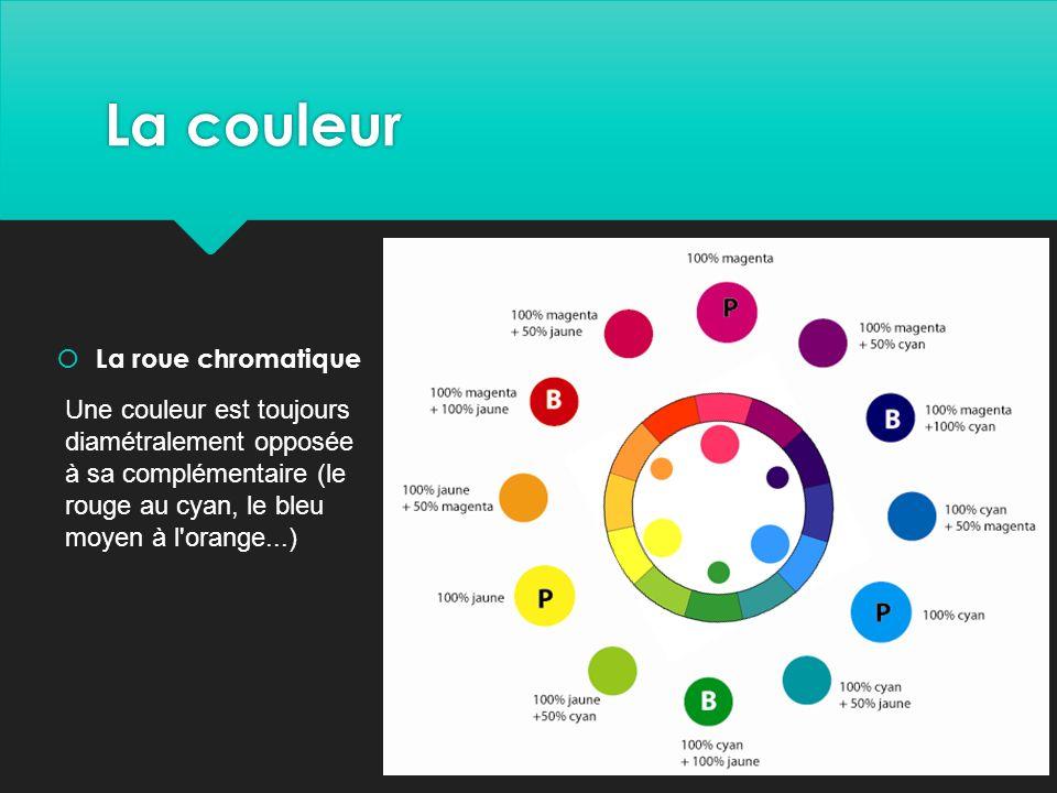 La couleur  La roue chromatique Une couleur est toujours diamétralement opposée à sa complémentaire (le rouge au cyan, le bleu moyen à l orange...)