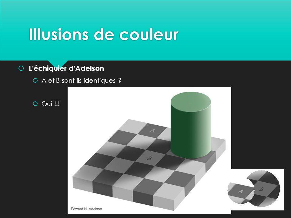 Illusions de couleur  L échiquier d Adelson  A et B sont-ils identiques ?  Oui !!!