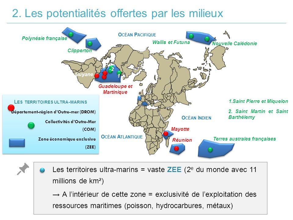 L ES TERRITOIRES ULTRA - MARINS Département-région d'Outre-mer (DROM) Collectivités d'Outre-Mer (COM) Zone économique exclusive (ZEE) L ES TERRITOIRES ULTRA - MARINS Département-région d'Outre-mer (DROM) Collectivités d'Outre-Mer (COM) Zone économique exclusive (ZEE) Les territoires ultra-marins = vaste ZEE (2 e du monde avec 11 millions de km²) 2.