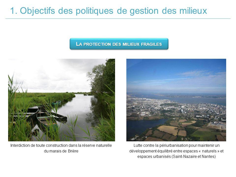 1. Objectifs des politiques de gestion des milieux L A PROTECTION DES MILIEUX FRAGILES Interdiction de toute construction dans la réserve naturelle du