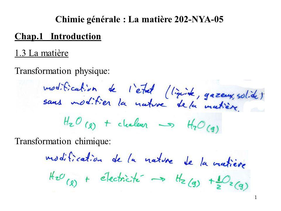 1 Chimie générale : La matière 202-NYA-05 Chap.1 Introduction 1.3 La matière Transformation physique: Transformation chimique: