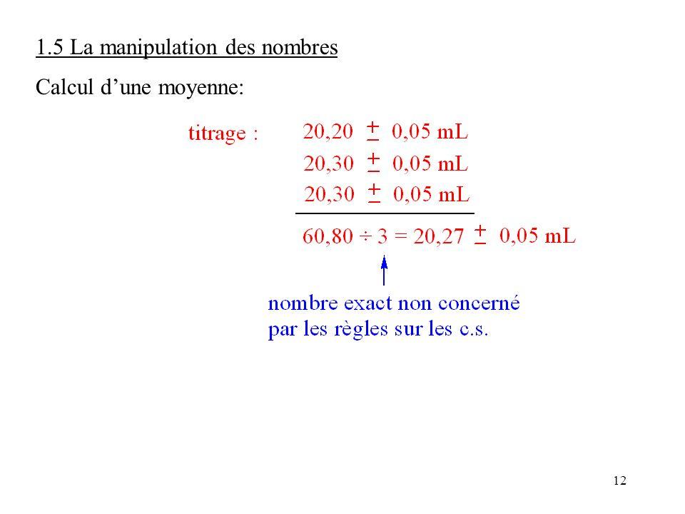 12 1.5 La manipulation des nombres Calcul d'une moyenne: