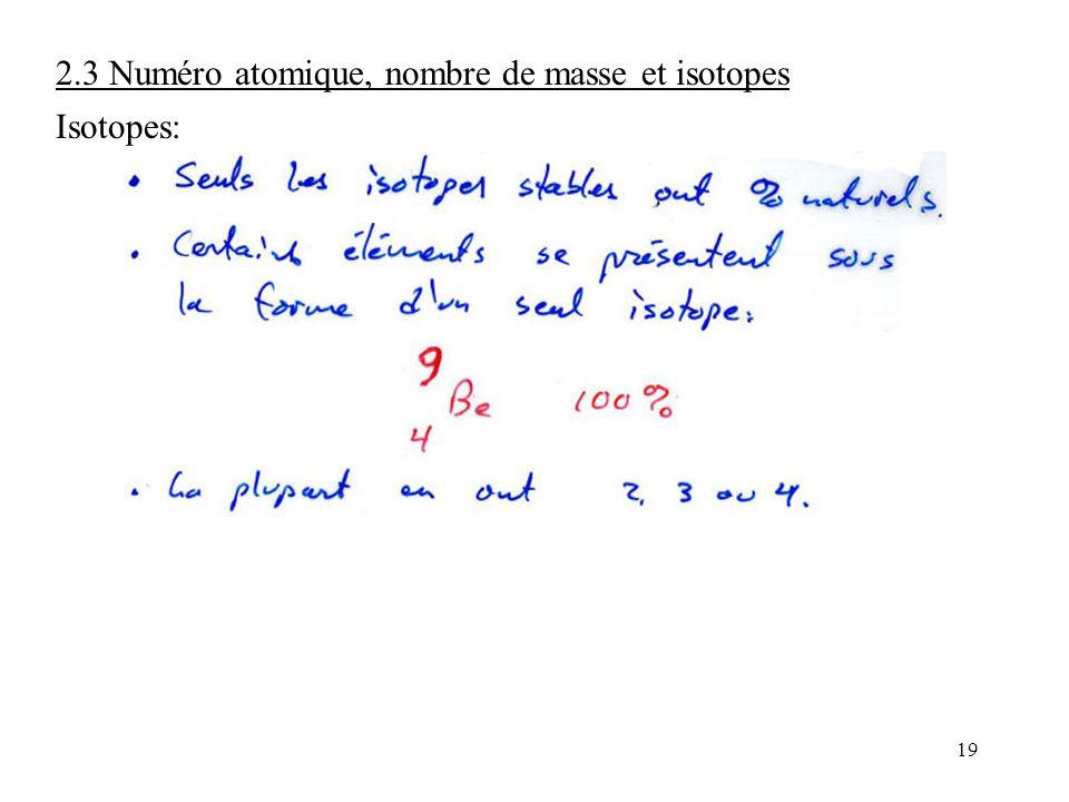19 2.3 Numéro atomique, nombre de masse et isotopes Isotopes: