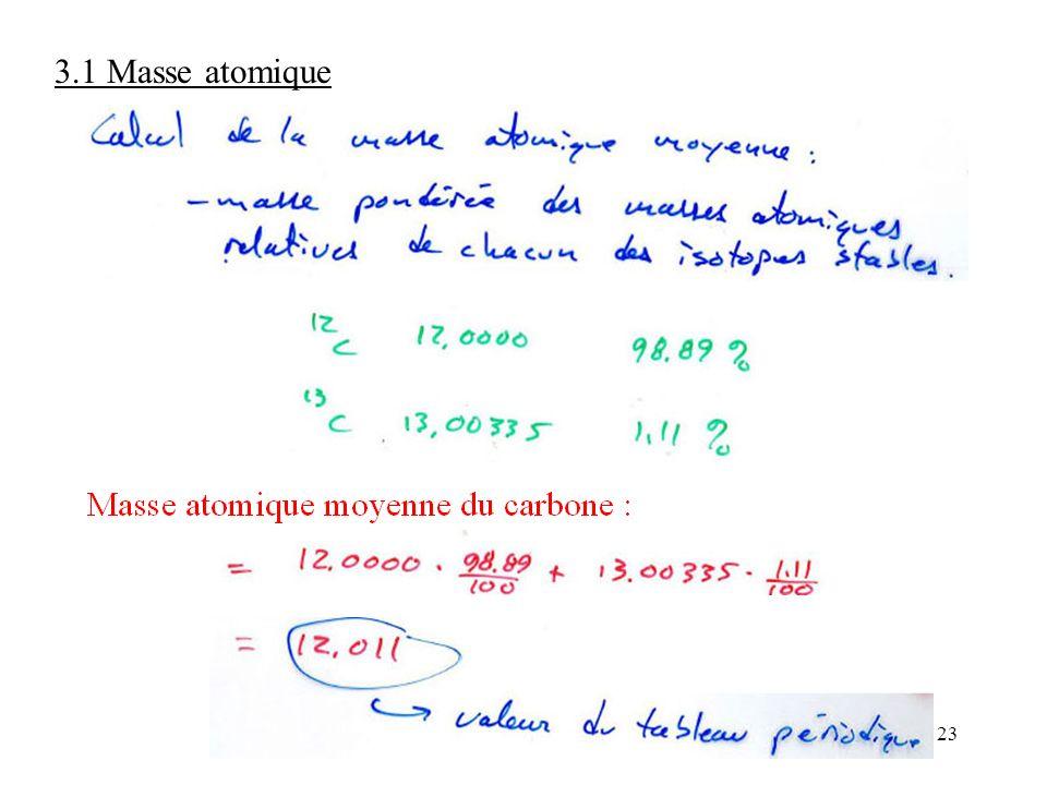 23 3.1 Masse atomique