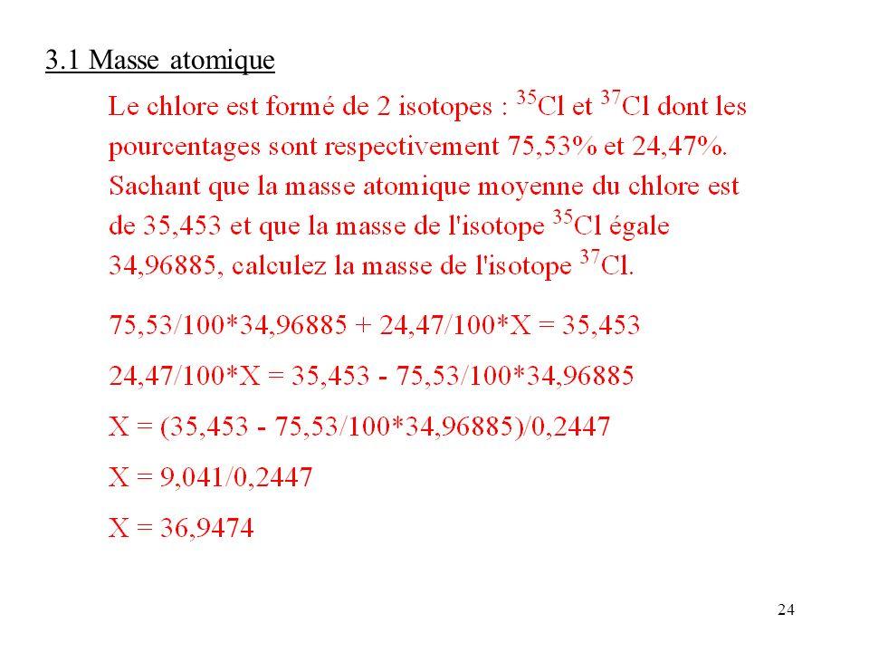 24 3.1 Masse atomique