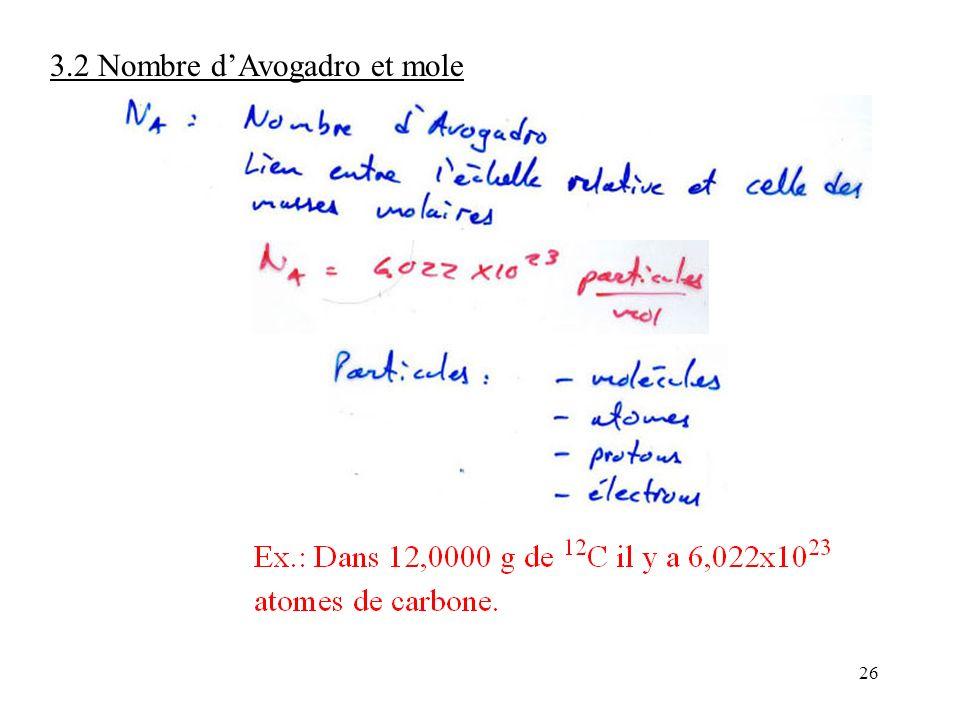 26 3.2 Nombre d'Avogadro et mole
