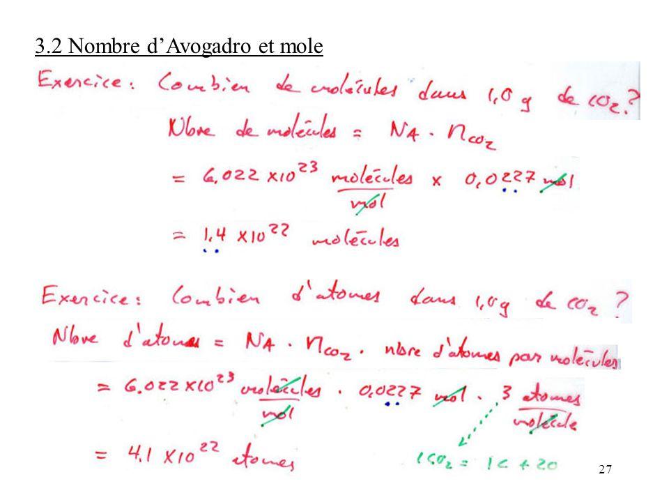 27 3.2 Nombre d'Avogadro et mole