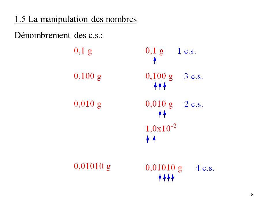 8 1.5 La manipulation des nombres Dénombrement des c.s.: