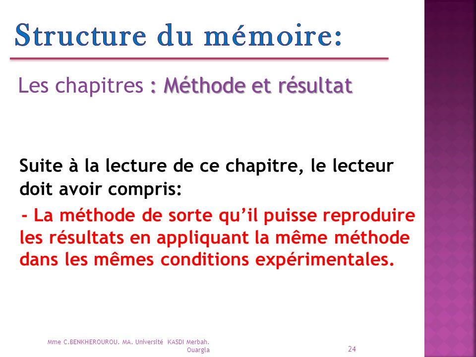 24 Mme C.BENKHEROUROU.MA. Université KASDI Merbah.