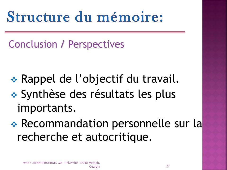 27 / Conclusion / Perspectives Mme C.BENKHEROUROU.