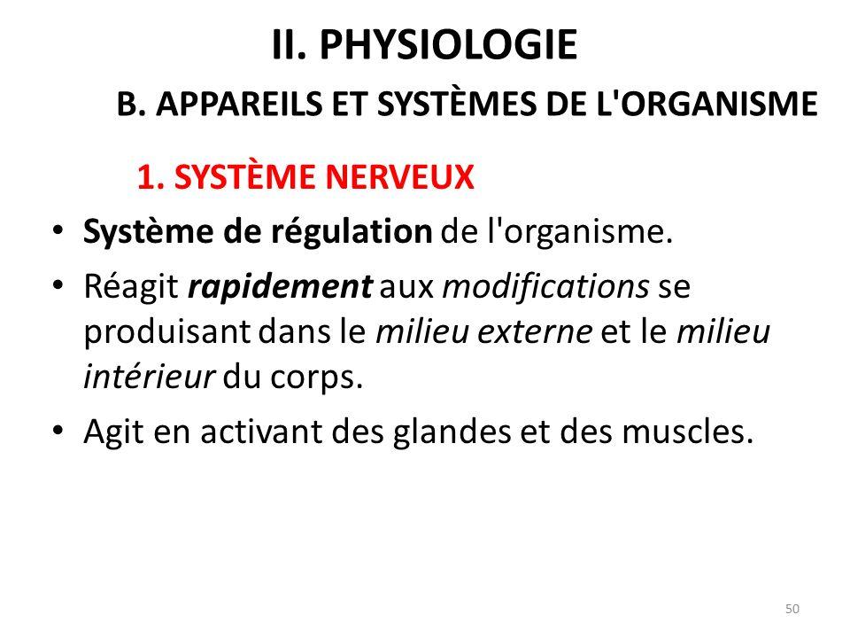 1.SYSTÈME NERVEUX Système de régulation de l organisme.