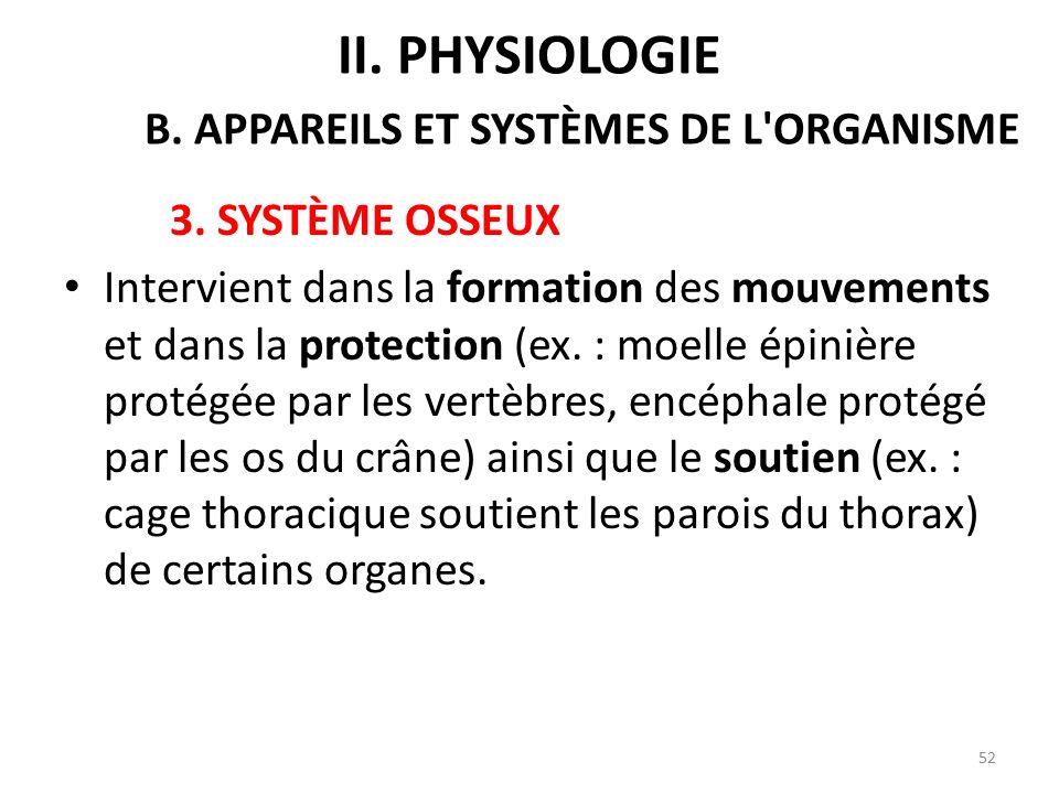 3.SYSTÈME OSSEUX Intervient dans la formation des mouvements et dans la protection (ex.