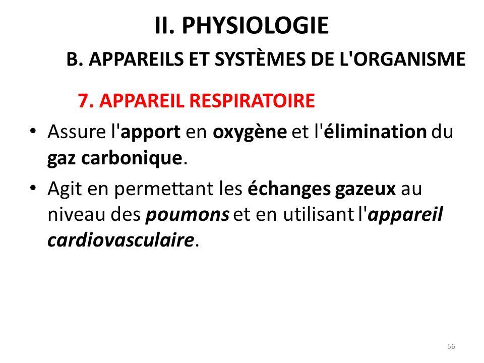 7.APPAREIL RESPIRATOIRE Assure l apport en oxygène et l élimination du gaz carbonique.