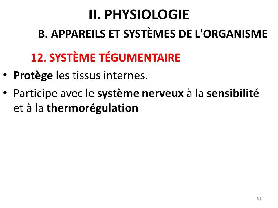 12.SYSTÈME TÉGUMENTAIRE Protège les tissus internes.