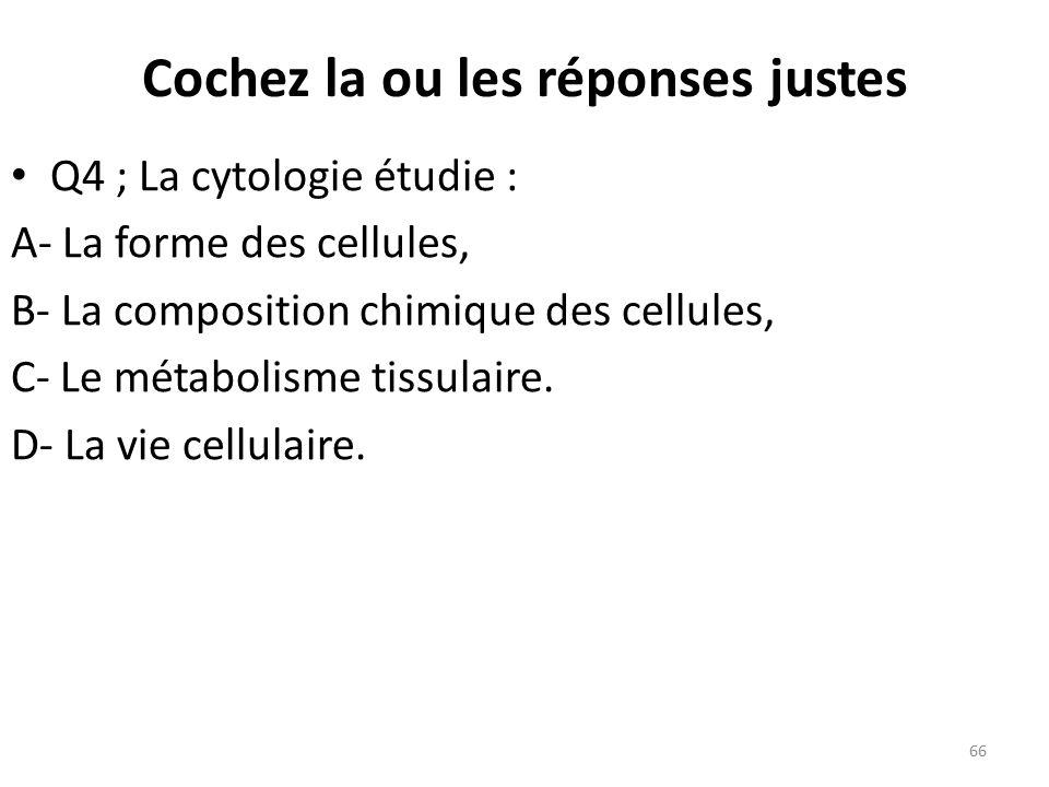 Q4 ; La cytologie étudie : A- La forme des cellules, B- La composition chimique des cellules, C- Le métabolisme tissulaire.