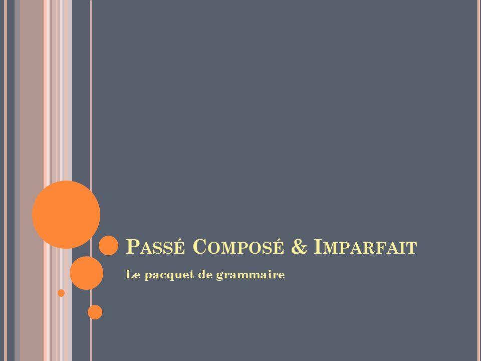 P ASSÉ C OMPOSÉ & I MPARFAIT Le pacquet de grammaire