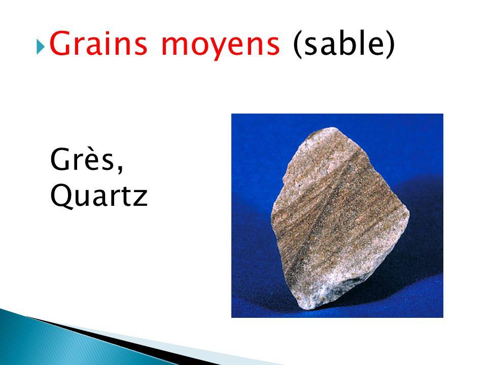  Grains moyens (sable) Grès, Quartz