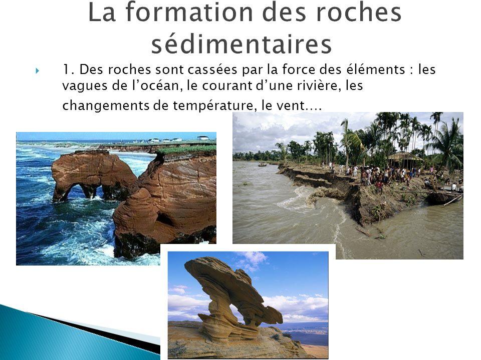  1. Des roches sont cassées par la force des éléments : les vagues de l'océan, le courant d'une rivière, les changements de température, le vent….