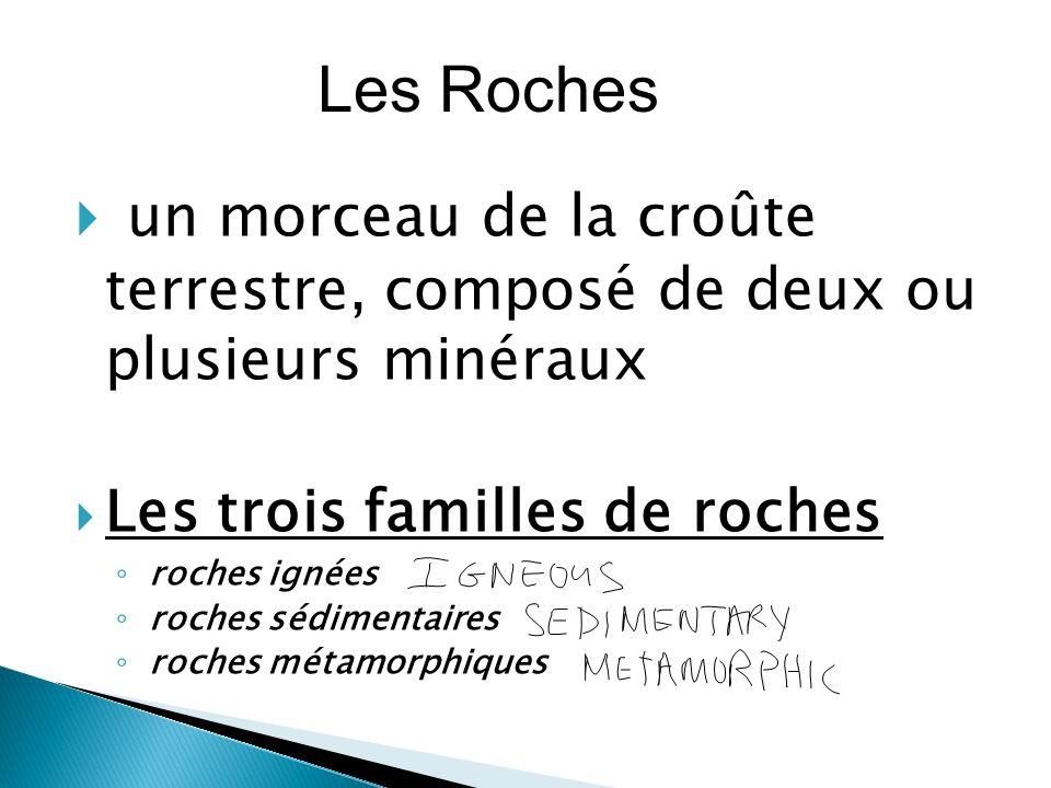  un morceau de la croûte terrestre, composé de deux ou plusieurs minéraux  Les trois familles de roches ◦ roches ignées ◦ roches sédimentaires ◦ roches métamorphiques Les Roches