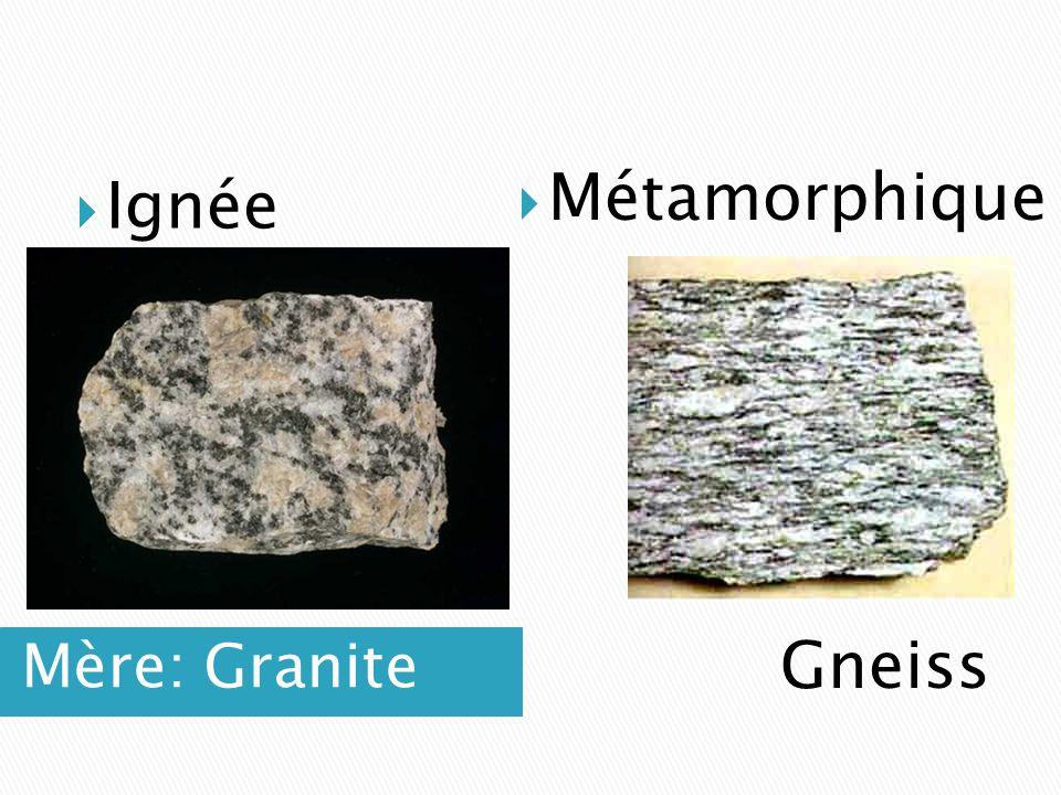 Mère: Granite  Ignée  Métamorphique Gneiss
