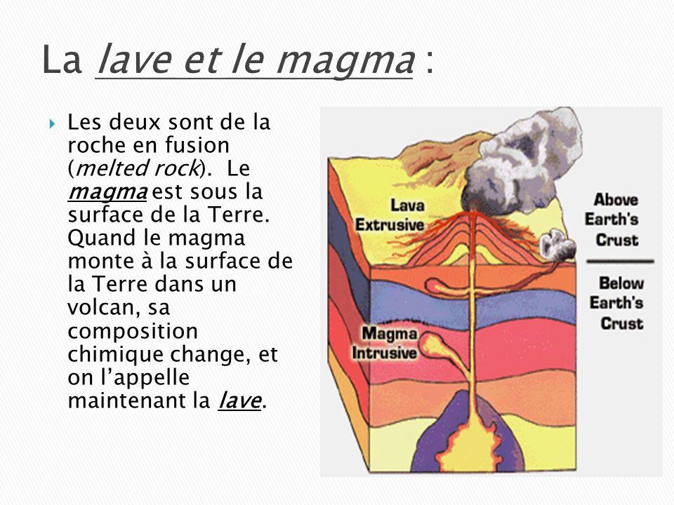 La lave et le magma :  Les deux sont de la roche en fusion (melted rock).