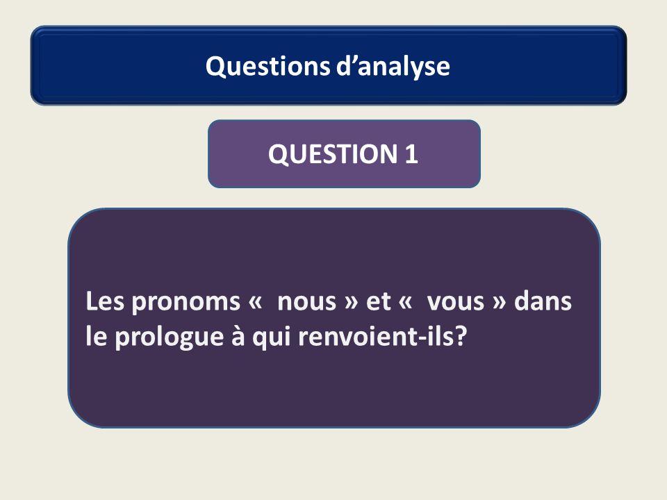 Questions d'analyse QUESTION 1 Les pronoms « nous » et « vous » dans le prologue à qui renvoient-ils?