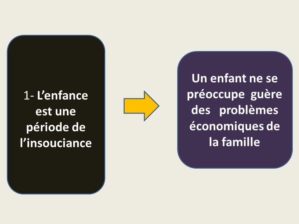 1- L'enfance est une période de l'insouciance Un enfant ne se préoccupe guère des problèmes économiques de la famille