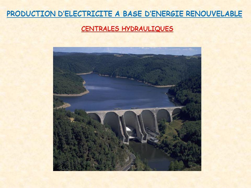 PRODUCTION D'ELECTRICITE A BASE D'ENERGIE RENOUVELABLE CENTRALES HYDRAULIQUES