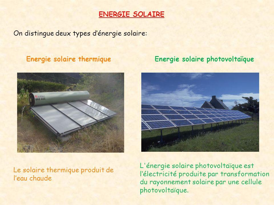 ENERGIE SOLAIRE On distingue deux types d'énergie solaire: Energie solaire thermiqueEnergie solaire photovoltaïque L'énergie solaire photovoltaïque es