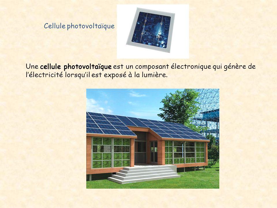 Cellule photovoltaïque Une cellule photovoltaïque est un composant électronique qui génère de l'électricité lorsqu'il est exposé à la lumière.