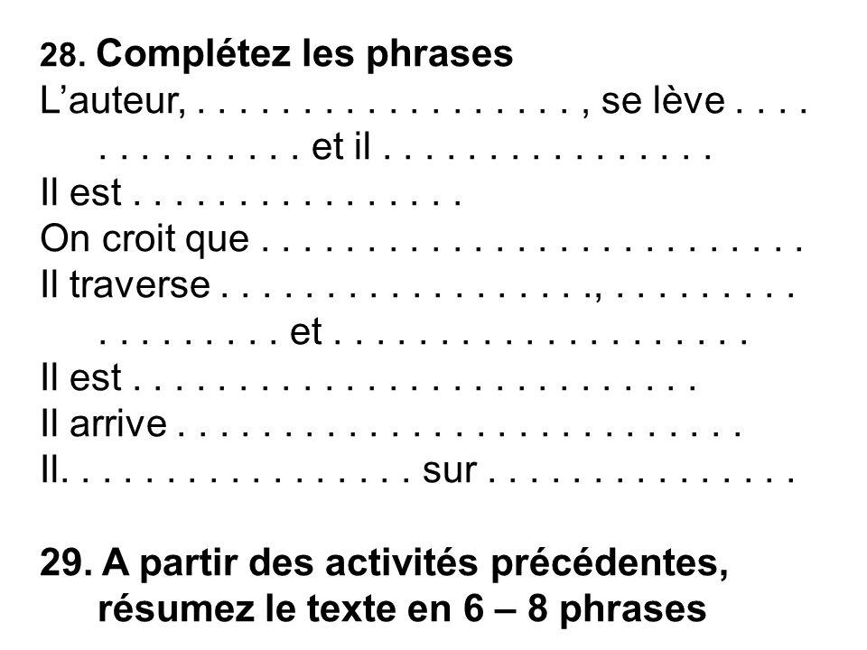 28.Complétez les phrases L'auteur,.................., se lève..............