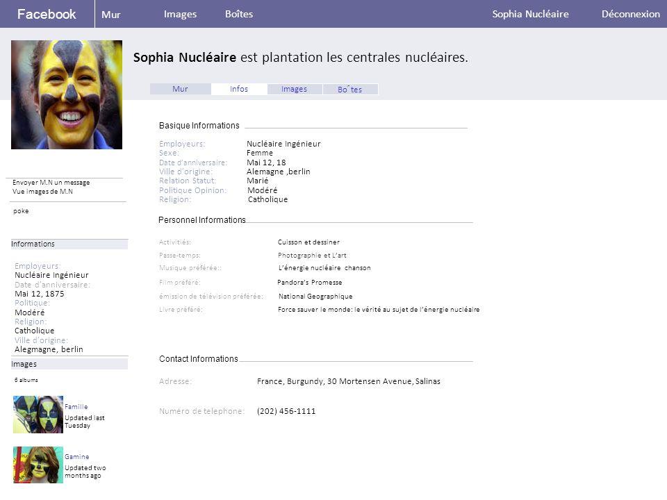Personnel Informations Facebook Sophia Nucléaire est plantation les centrales nucléaires.