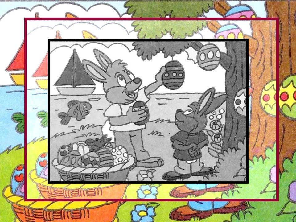 Mais il faut vus dire que nous avions eu des cours de décoration : oui, des cours pour les jeunes lapins qui commençaient à décorer les petits œufs.