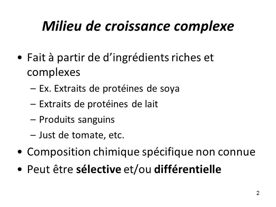 Milieu de croissance complexe Fait à partir de d'ingrédients riches et complexes –Ex.