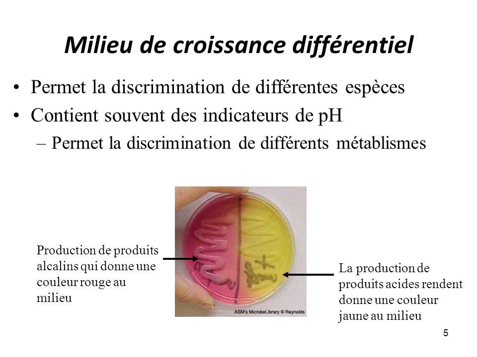 Milieu de croissance différentiel 5 Permet la discrimination de différentes espèces Contient souvent des indicateurs de pH –Permet la discrimination de différents métablismes La production de produits acides rendent donne une couleur jaune au milieu Production de produits alcalins qui donne une couleur rouge au milieu