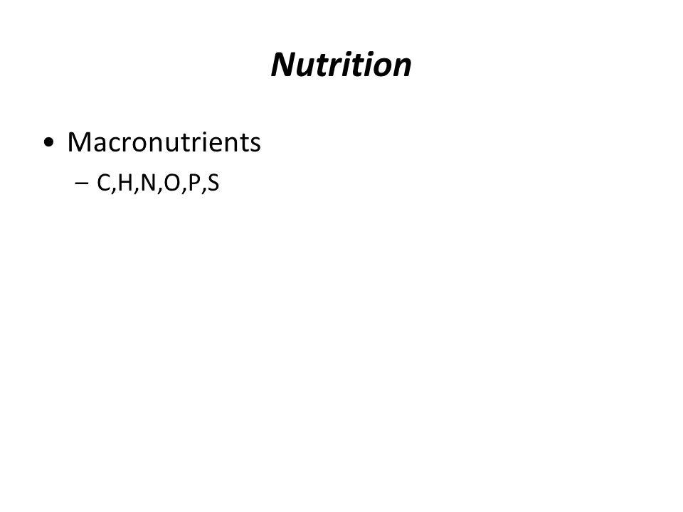 Nutrition Macronutrients –C,H,N,O,P,S