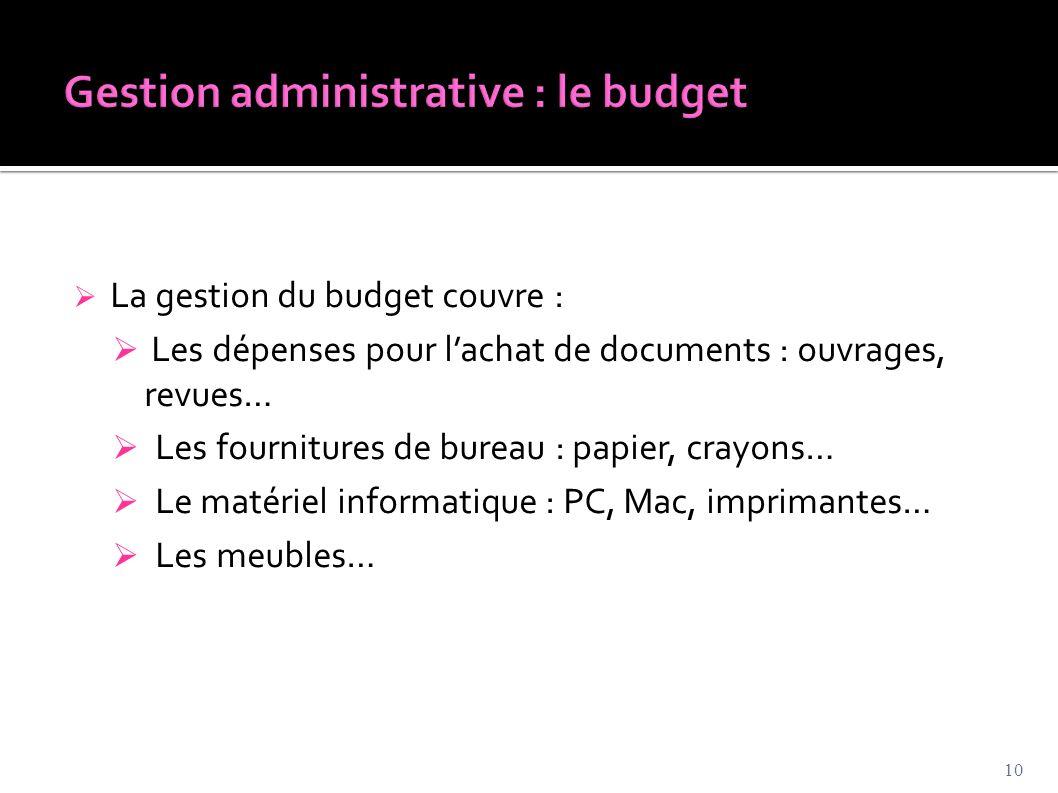  La gestion du budget couvre :  Les dépenses pour l'achat de documents : ouvrages, revues…  Les fournitures de bureau : papier, crayons…  Le matér