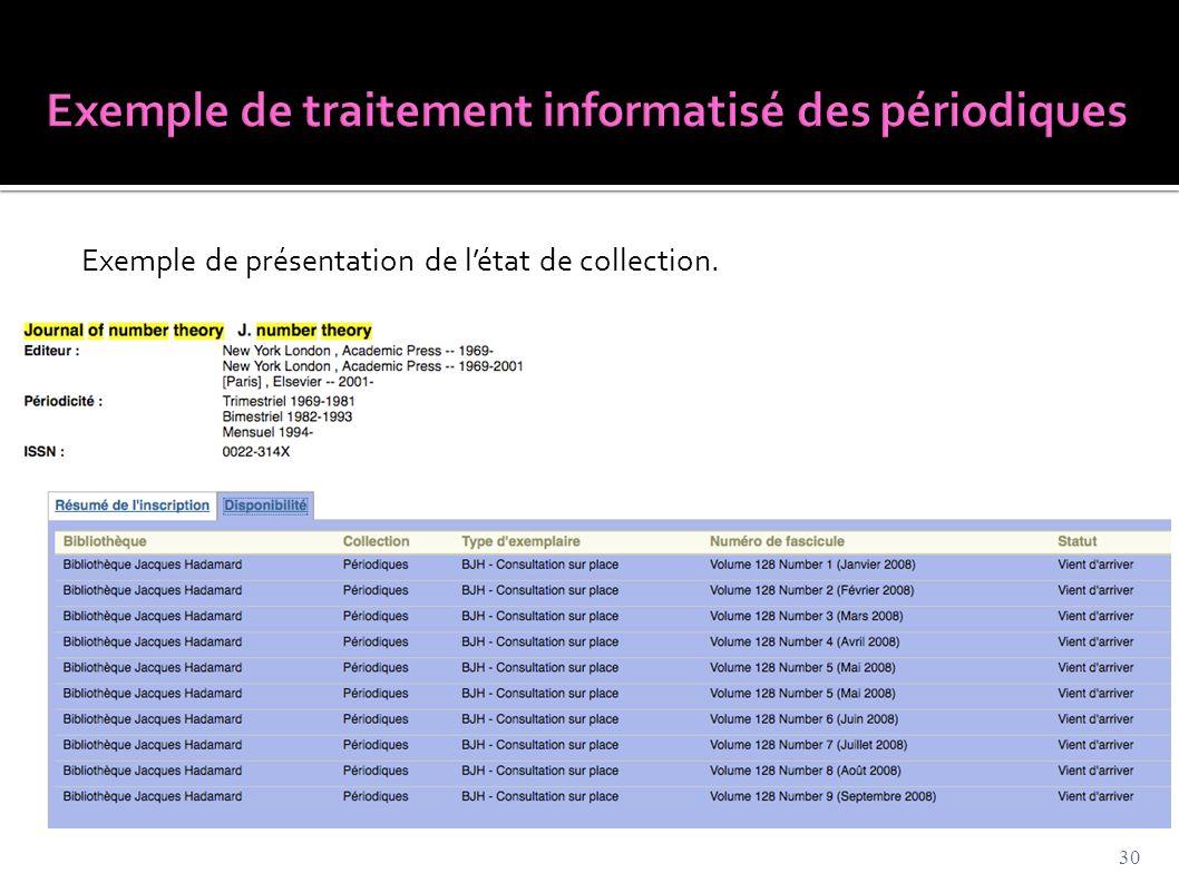 Exemple de présentation de l'état de collection. 30