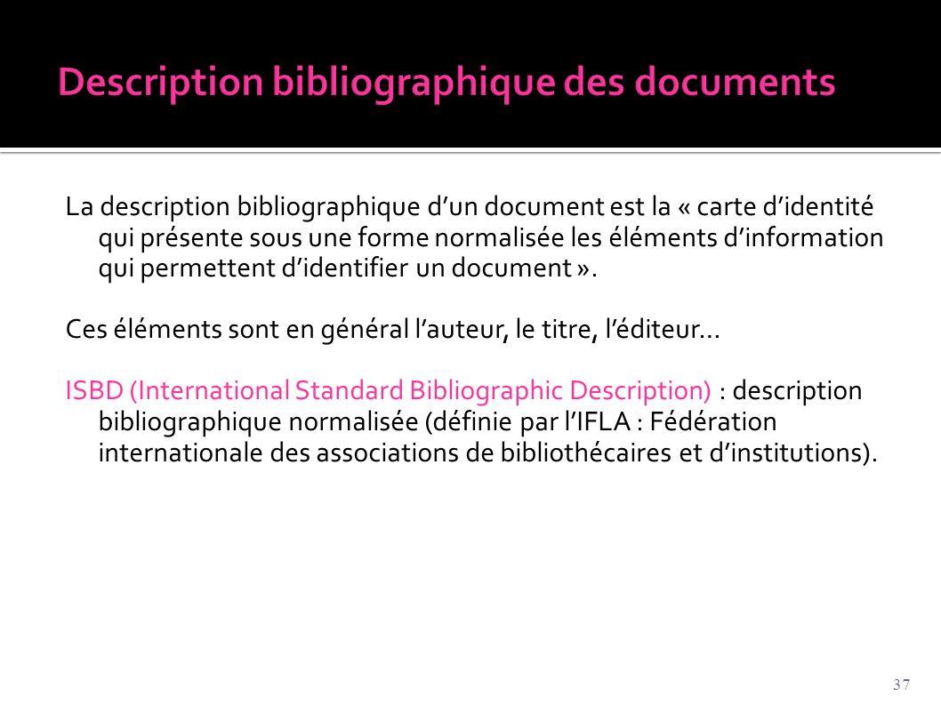 La description bibliographique d'un document est la « carte d'identité qui présente sous une forme normalisée les éléments d'information qui permetten