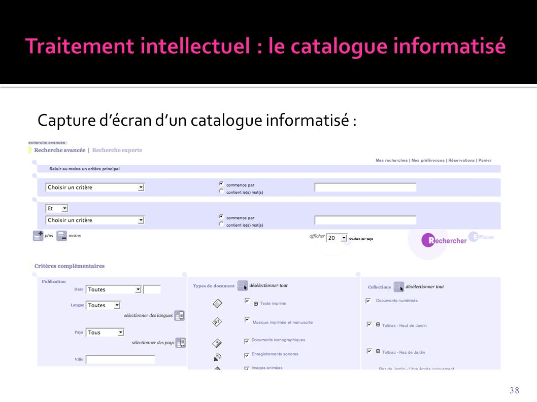 Capture d'écran d'un catalogue informatisé : 38