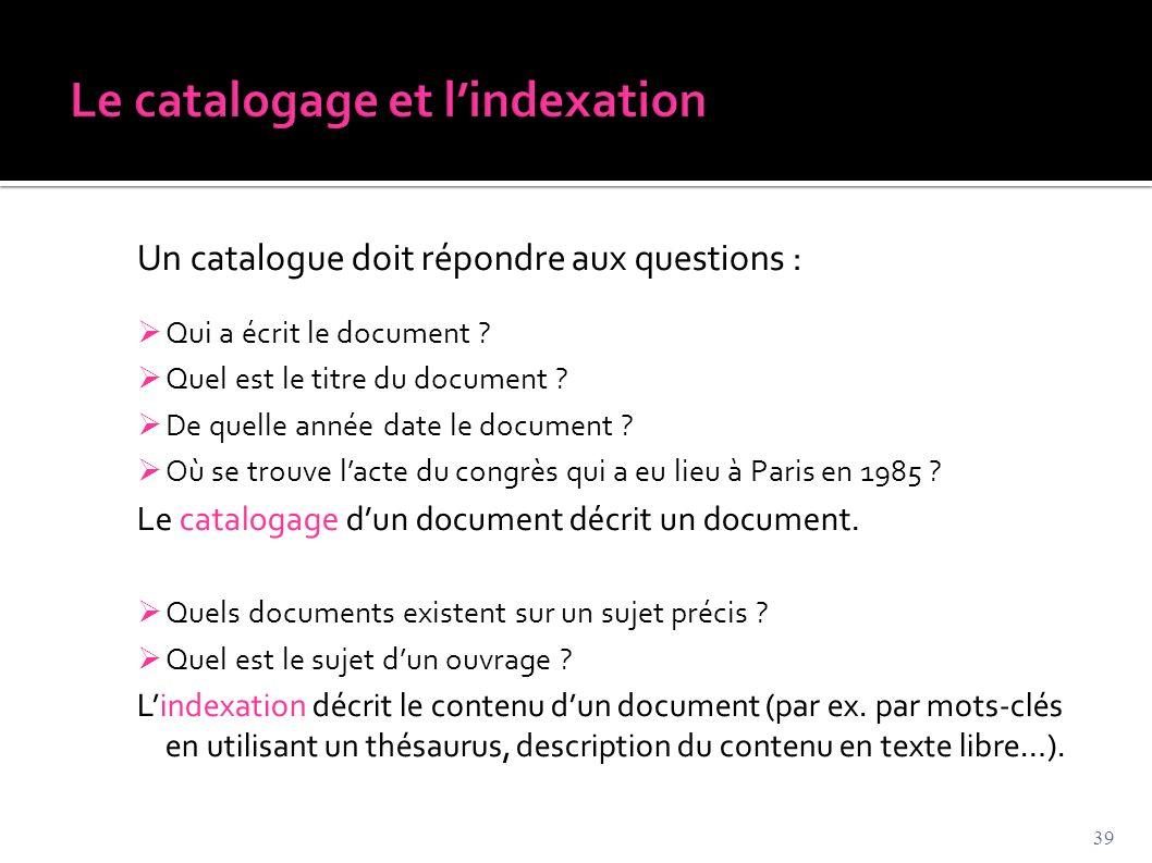 Un catalogue doit répondre aux questions :  Qui a écrit le document ?  Quel est le titre du document ?  De quelle année date le document ?  Où se