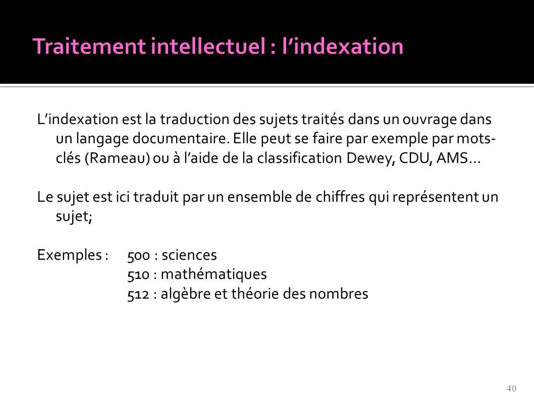L'indexation est la traduction des sujets traités dans un ouvrage dans un langage documentaire. Elle peut se faire par exemple par mots- clés (Rameau)