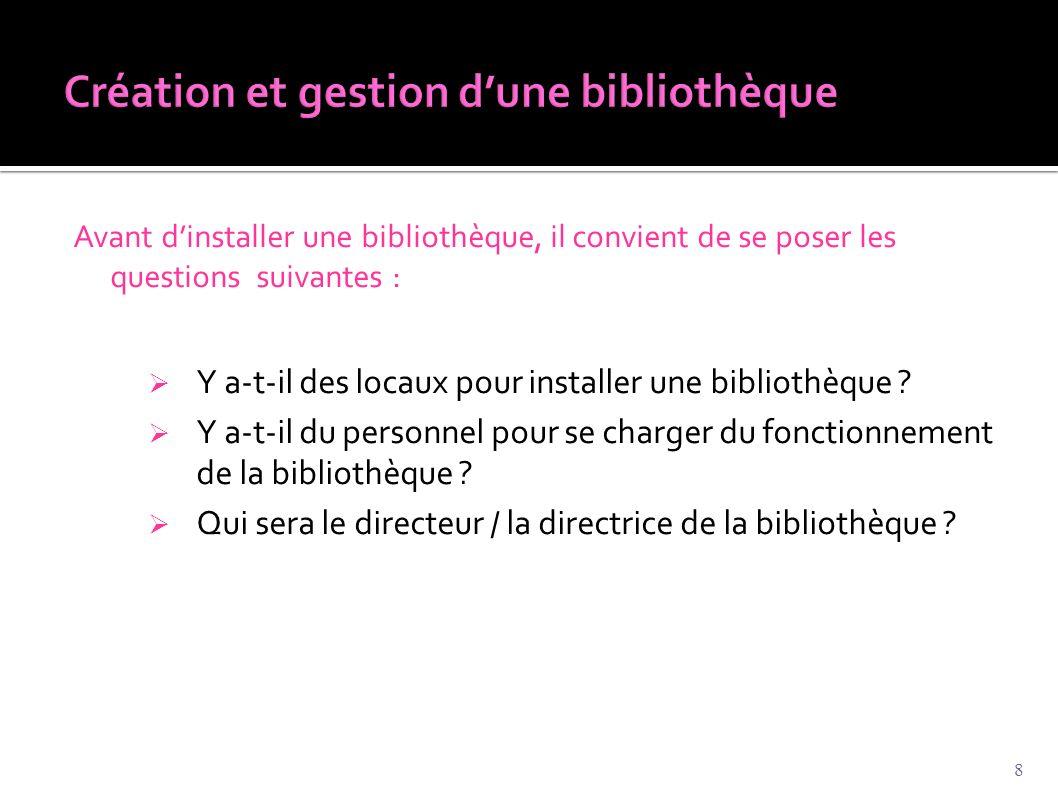 Avant d'installer une bibliothèque, il convient de se poser les questions suivantes :  Y a-t-il des locaux pour installer une bibliothèque ?  Y a-t-