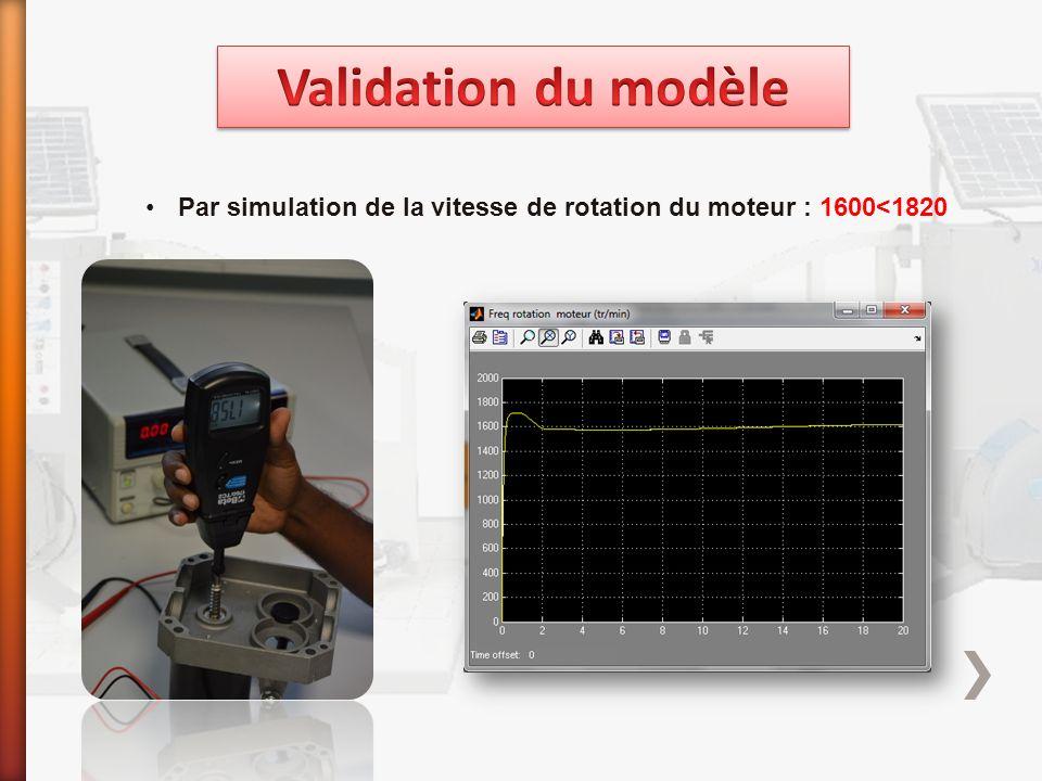 Par simulation de la vitesse de rotation du moteur : 1600<1820