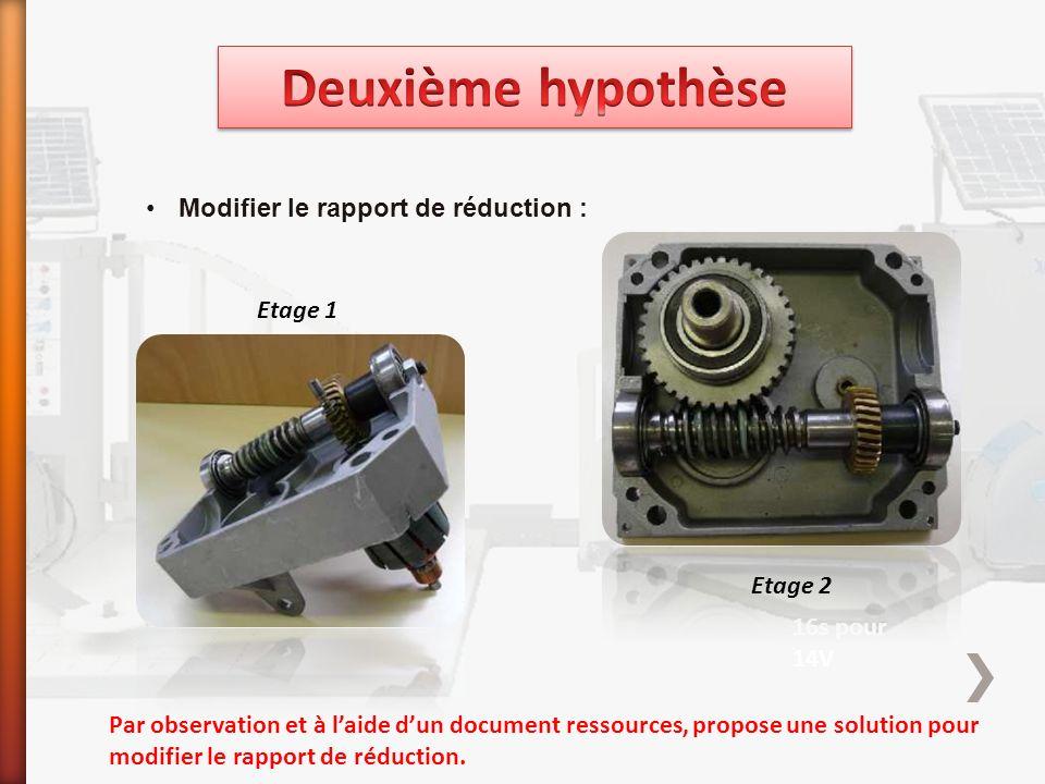 Modifier le rapport de réduction : 18s pour 12V 16s pour 14V Par observation et à l'aide d'un document ressources, propose une solution pour modifier le rapport de réduction.