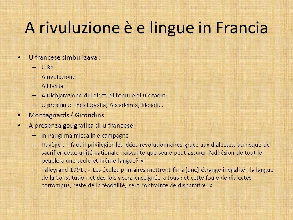 A rivuluzione è e lingue in Francia U francese simbulizava : – U Rè – A rivuluzione – A libertà – A Dichjarazione di i diritti di lomu è di u citadinu