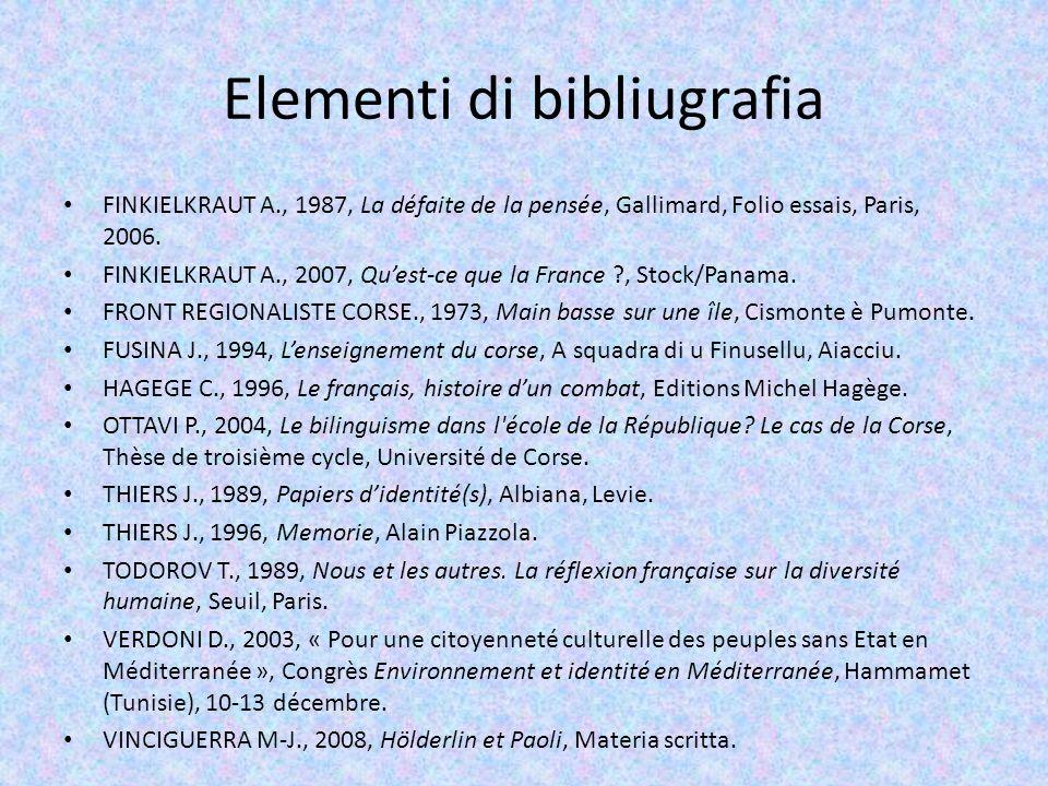 Elementi di bibliugrafia FINKIELKRAUT A., 1987, La défaite de la pensée, Gallimard, Folio essais, Paris, 2006. FINKIELKRAUT A., 2007, Quest-ce que la