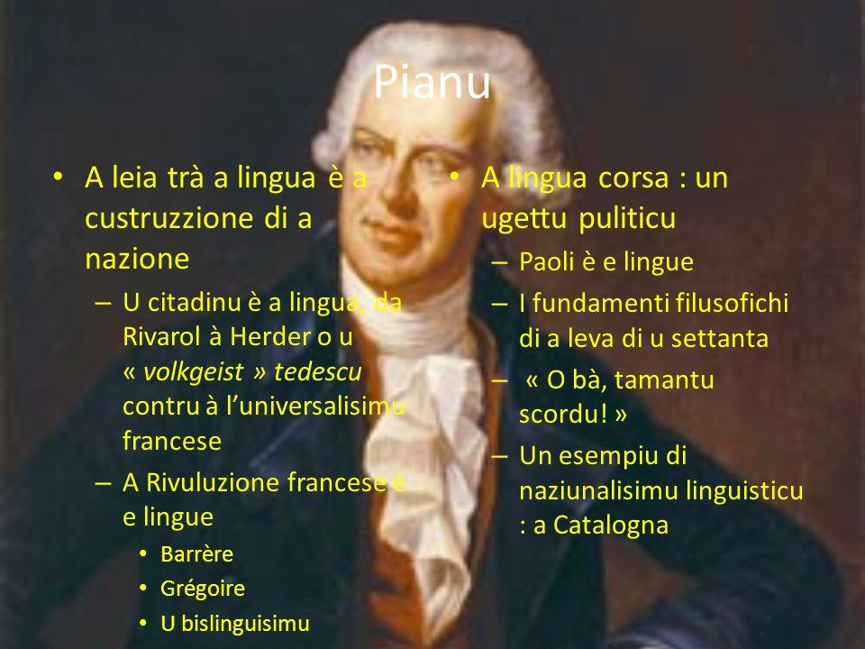 Pianu A leia trà a lingua è a custruzzione di a nazione – U citadinu è a lingua, da Rivarol à Herder o u « volkgeist » tedescu contru à luniversalisim