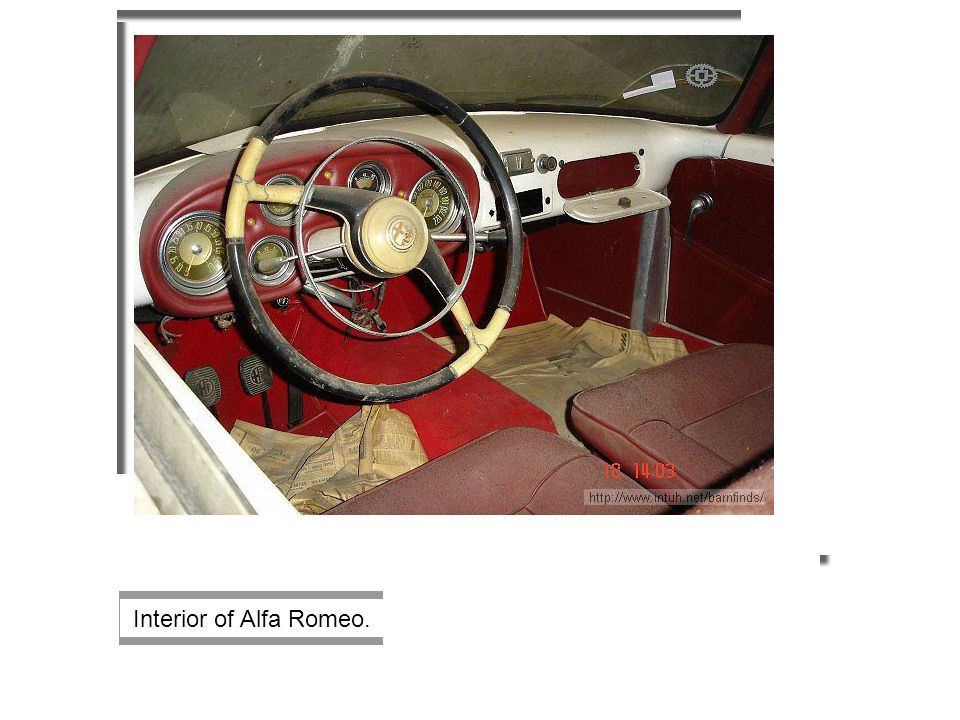 Interior of Alfa Romeo.