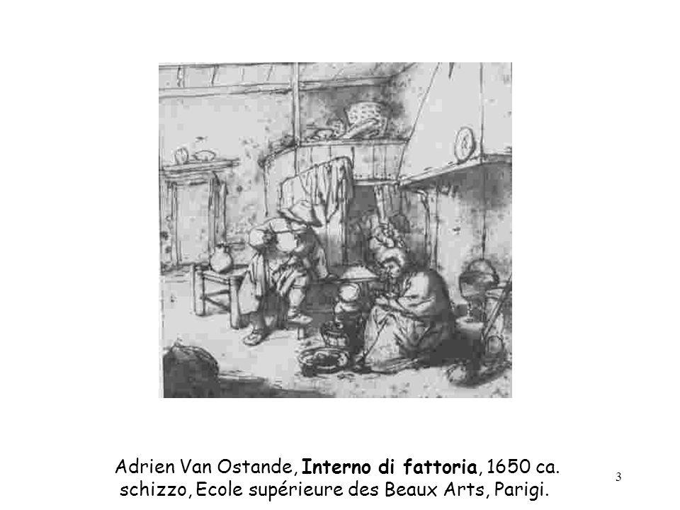 3 Adrien Van Ostande, Interno di fattoria, 1650 ca. schizzo, Ecole supérieure des Beaux Arts, Parigi.